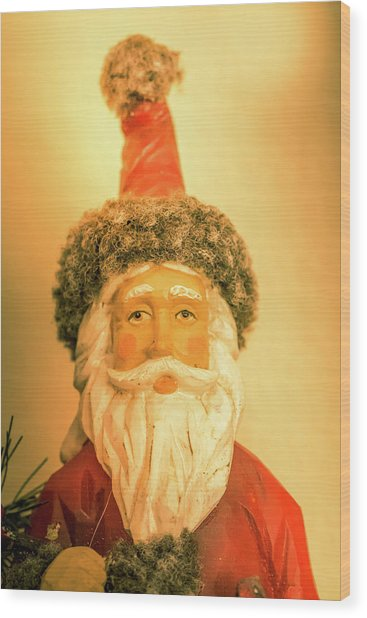 Santa Is Watching Wood Print