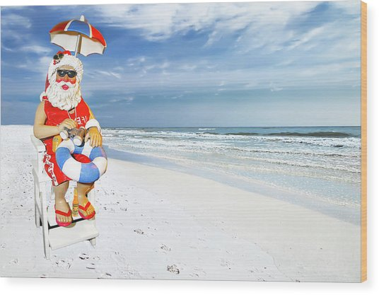 Santa Lifeguard Wood Print