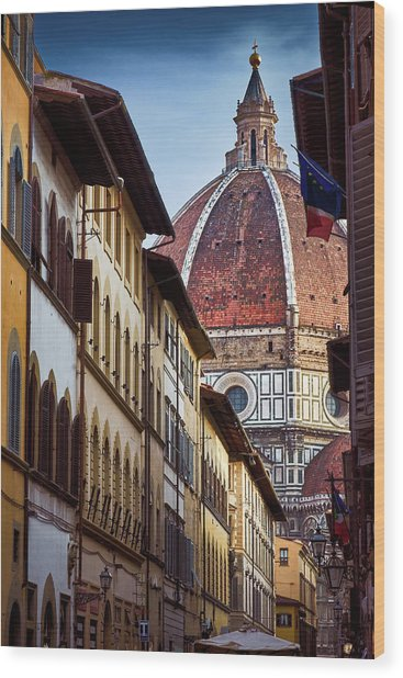 Santa Maria Del Fiore From Via Dei Servi Street In Florence, Italy Wood Print
