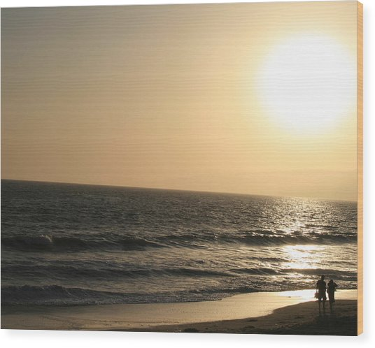 Santa Monica At Sunset Wood Print by Aimee Galicia Torres