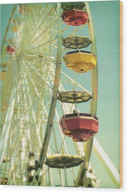 Santa Monica Ferris Wheel Wood Print