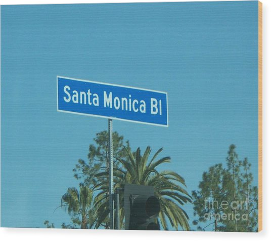 Santa Monica Wood Print by Sacred  Muse