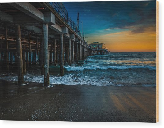 Santa Monica Pier At Sunset Wood Print
