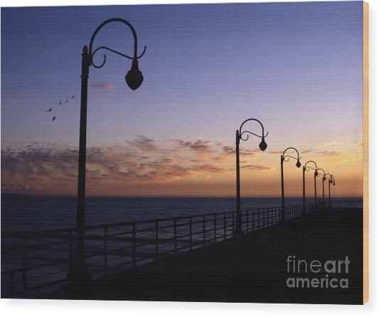 Santa Monica Pier Sunset Wood Print by Chris Jurgenson