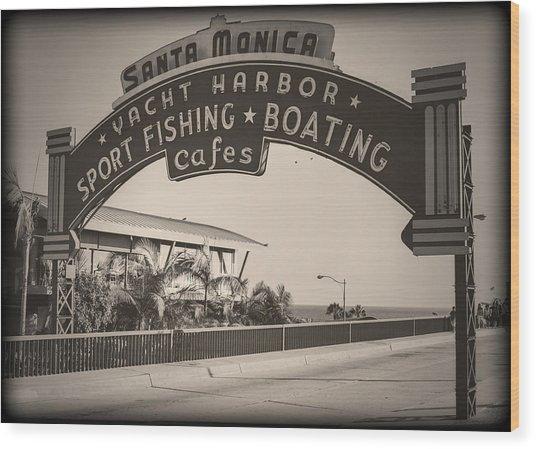 Santa Monica Sign Series Modern Vintage Wood Print