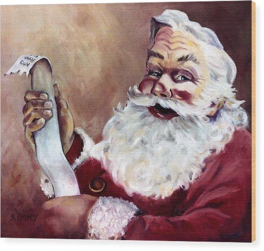 Santa With A List Wood Print