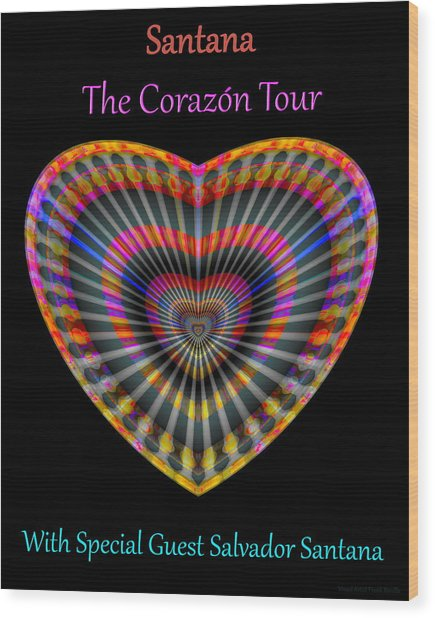 Wood Print featuring the digital art Santana The Corazon Tour by Visual Artist Frank Bonilla