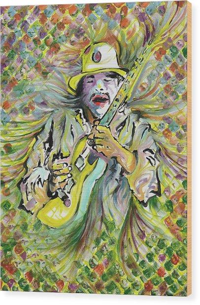 Santana's Sacred Fire Wood Print