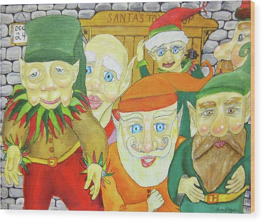 Santas Elves Wood Print by Gordon Wendling