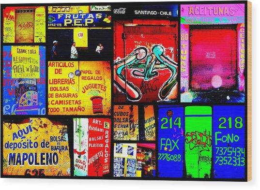 Santiago Funky Walls  Wood Print