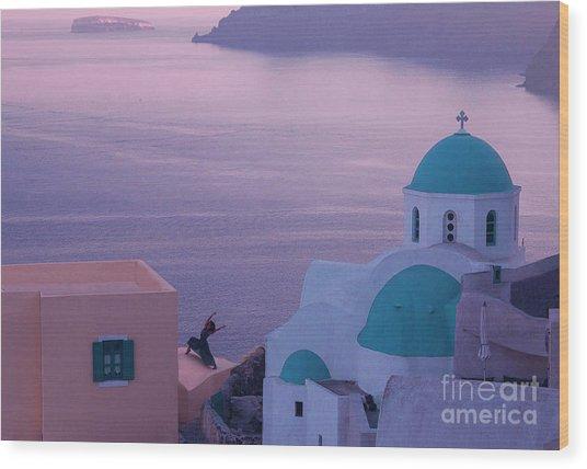 Santorini Dancer Wood Print by Jim Wright