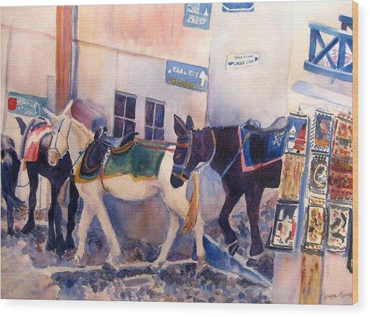 Santorini Donkeys Wood Print by Joyce Kanyuk