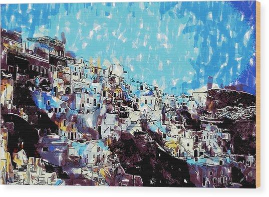 Santorini Island Wood Print