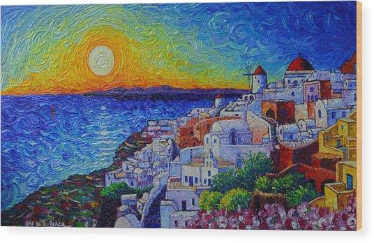 Santorini Oia Sunset Modern Impressionist Impasto Palette Knife Oil Painting By Ana Maria Edulescu Wood Print