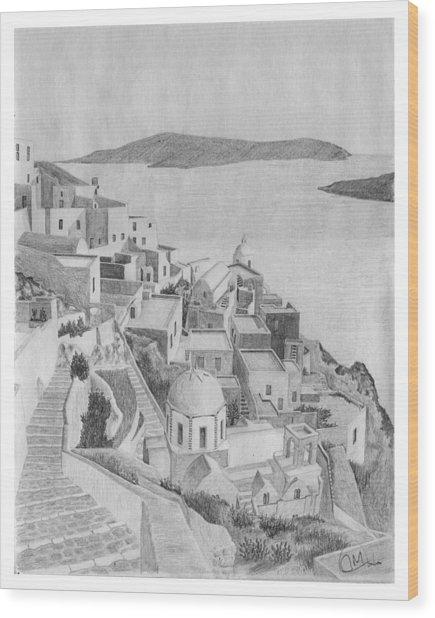 Santorini Sketch Wood Print