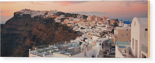 Santorini Skyline Sunset Wood Print by Songquan Deng