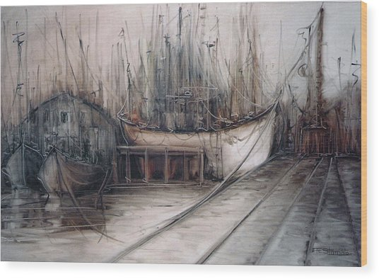 Santos Harbour Wood Print by Fatima Stamato