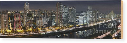 Sao Paulo Iconic Skyline - Cable-stayed Bridge  Wood Print
