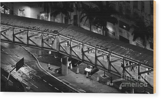 Sao Paulo - Metallic Footbridge At Night Wood Print