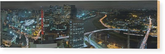 Sao Paulo Skyline Modern Corporate Districts Brooklin Morumbi Chacara Santo Antonio Wood Print