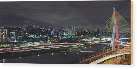 Sao Paulo Skyline - Ponte Estaiada Octavio Frias De Oliveira Wit Wood Print