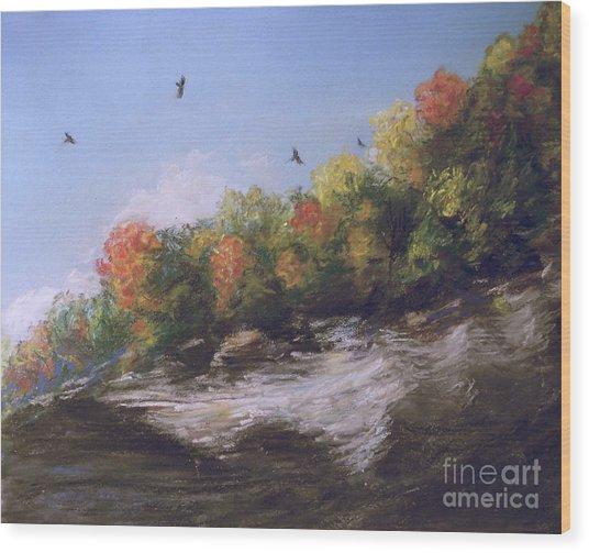 Soaring Over The North Rim, Autumn Wood Print