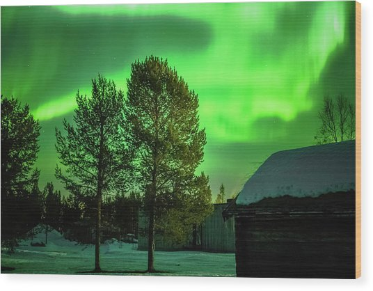 Sapmi Outdoor Museum Under The Northern Lights Karasjok Norway Wood Print