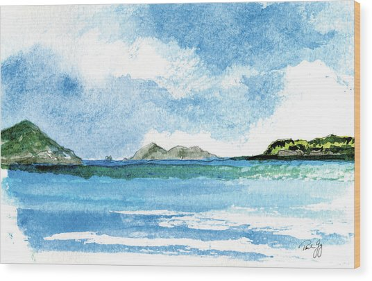 Sapphire Bay Towards Tortolla Wood Print