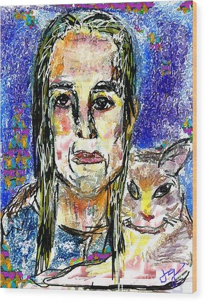 Sarah And Shai Wood Print by Joyce Goldin