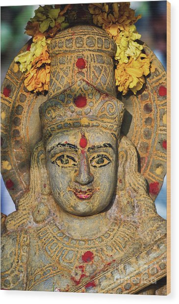 Saraswathi Statue In Morning Light Wood Print by Tim Gainey