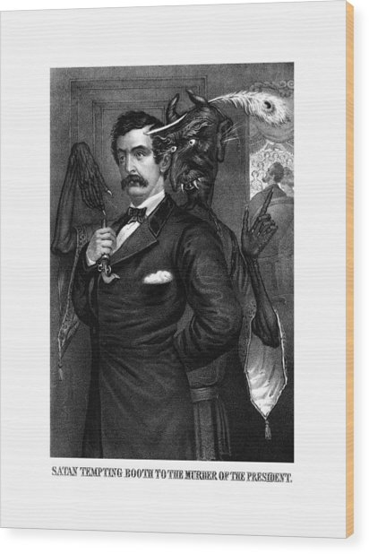 Satan Tempting John Wilkes Booth Wood Print