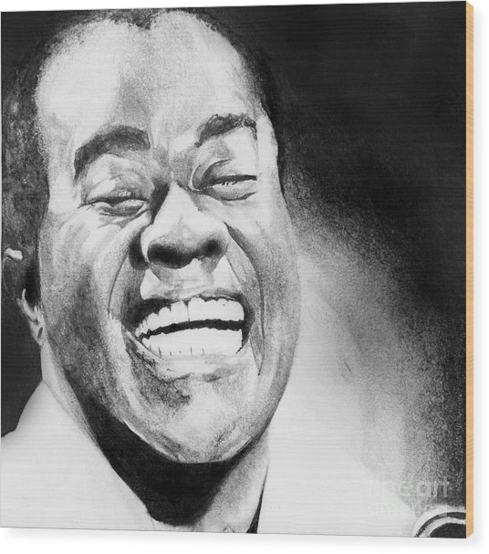 Satchmo Wood Print by Carrie Jackson