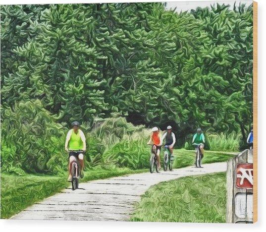 Saturday Bike Ride Wood Print