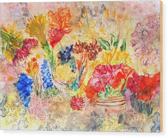 Saturday Flower Market Wood Print by John Vandebrooke