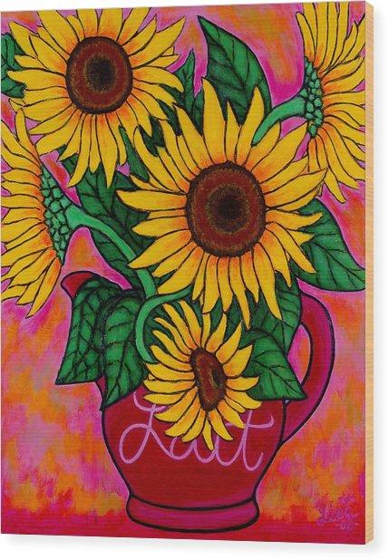 Saturday Morning Sunflowers Wood Print