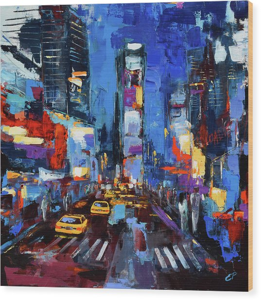 Saturday Night In Times Square Wood Print
