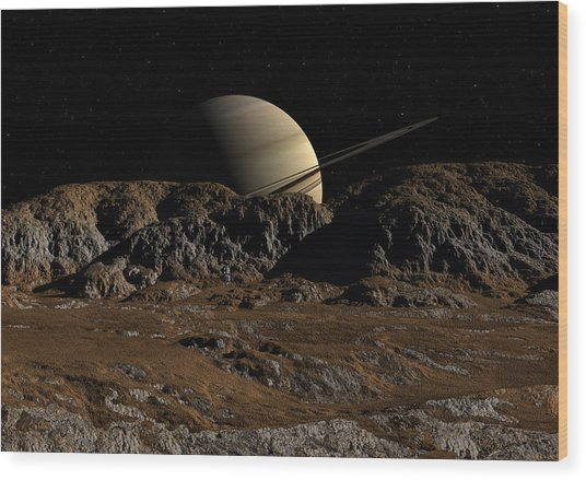 Saturn From Dione Wood Print