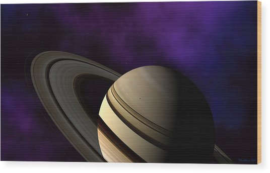 Saturn Rings Close-up Wood Print