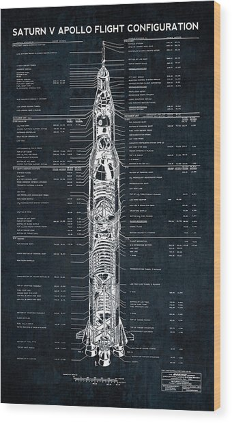 Saturn V Apollo Moon Mission Rocket Blueprint  1967 Wood Print