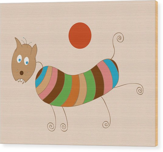 Sausage Dog In Ketchup Sunset Wood Print by Frank Tschakert