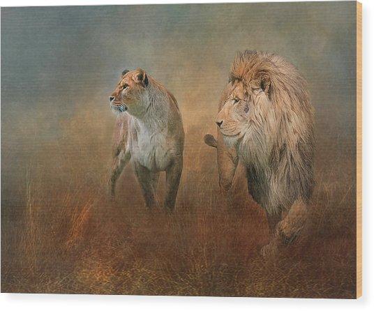 Savanna Lions Wood Print