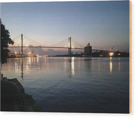 Savannah Bridge Evening  Wood Print