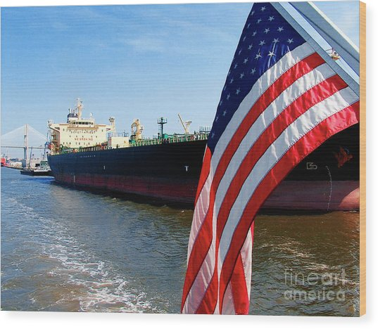 Savannah Georgia Container Ship And Us Flag Wood Print