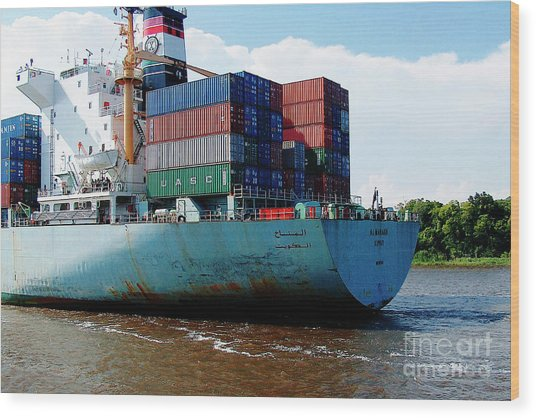Savannah Georgia Harbour Container Ship Middle East  Wood Print