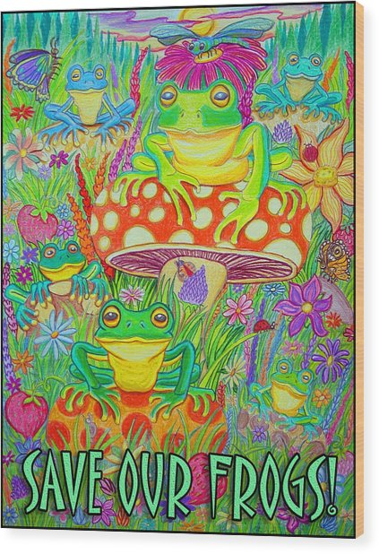 Save Our Frogs Wood Print