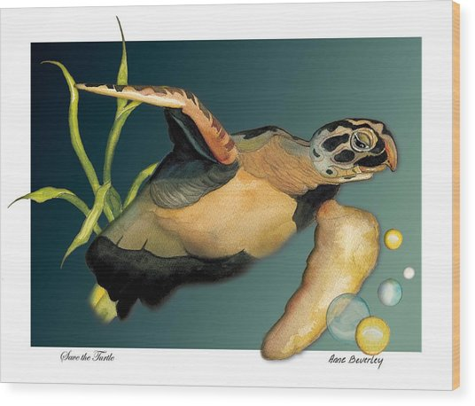 Save The Turtle Wood Print