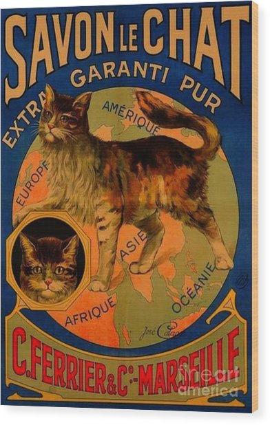Savon Le Chat Antique French Poster Wood Print
