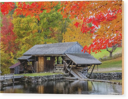 Sawmill Reflection, Autumn In New Hampshire Wood Print