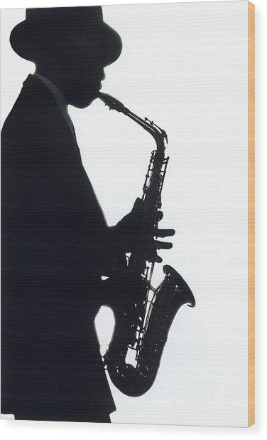 Sax 2 Wood Print by Tony Cordoza