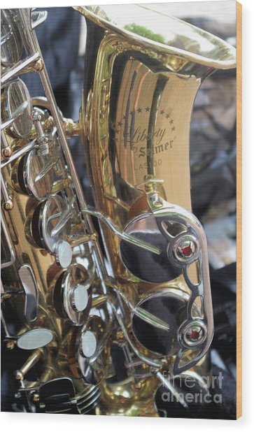 Sax In The City Wood Print